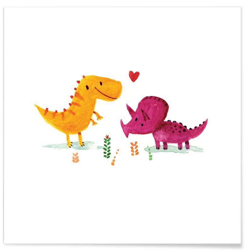 Dinosaurier, Kinderzimmer & Kunst für Kinder, Paare, Opposites Attract -Poster
