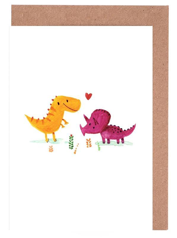 Paare, Dinosaurier, Kinderzimmer & Kunst für Kinder, Opposites Attract -Grußkarten-Set