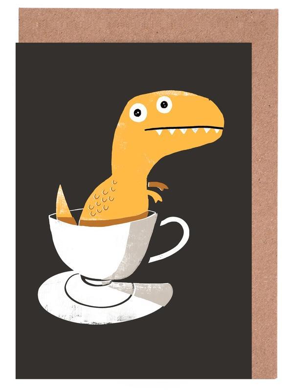 Lustig, Dinosaurier, Kinderzimmer & Kunst für Kinder, Tea Rex -Grußkarten-Set