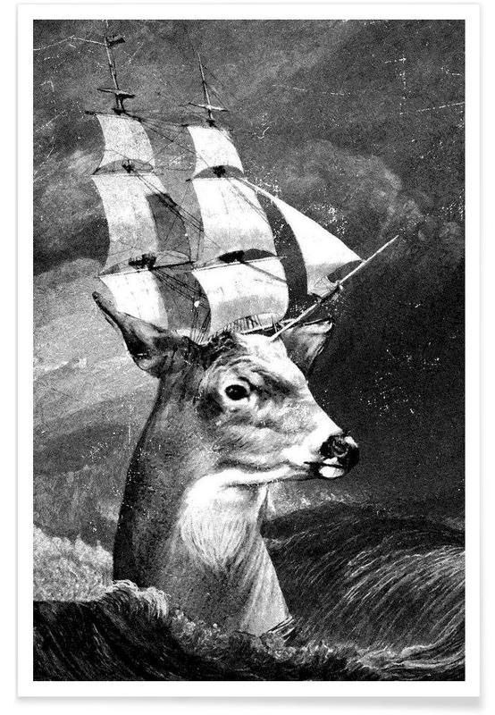 Créatures et hybrides, Cerfs, Noir & blanc, Set Sail affiche