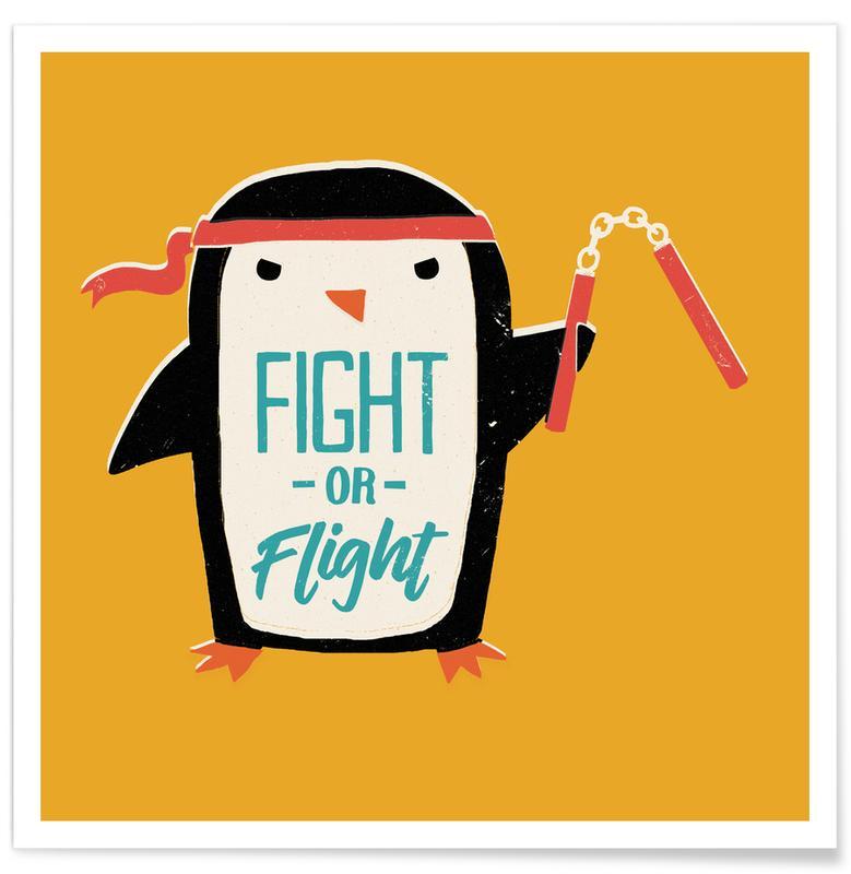Art pour enfants, Humour, Pingouins, Fight Or Flight affiche