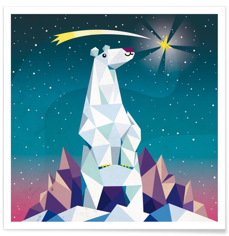 Kunst voor kinderen, Beren, Kerst, Geo Bear poster