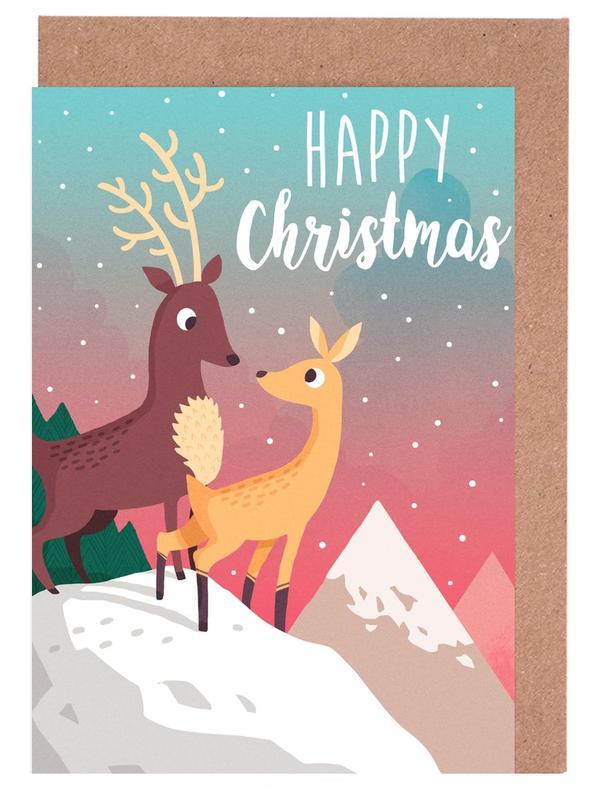 Hirsche, Weihnachten, Kinderzimmer & Kunst für Kinder, Winter Mountain -Grußkarten-Set
