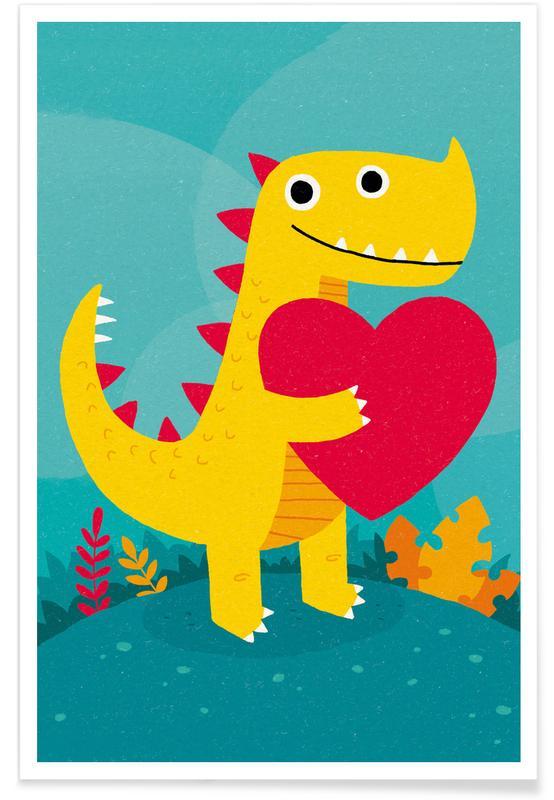 Nursery & Art for Kids, Birthdays, Dino Love Poster