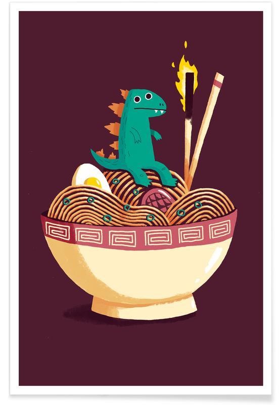 Dinosaurier, Kinderzimmer & Kunst für Kinder, Guardian of the Noodles -Poster