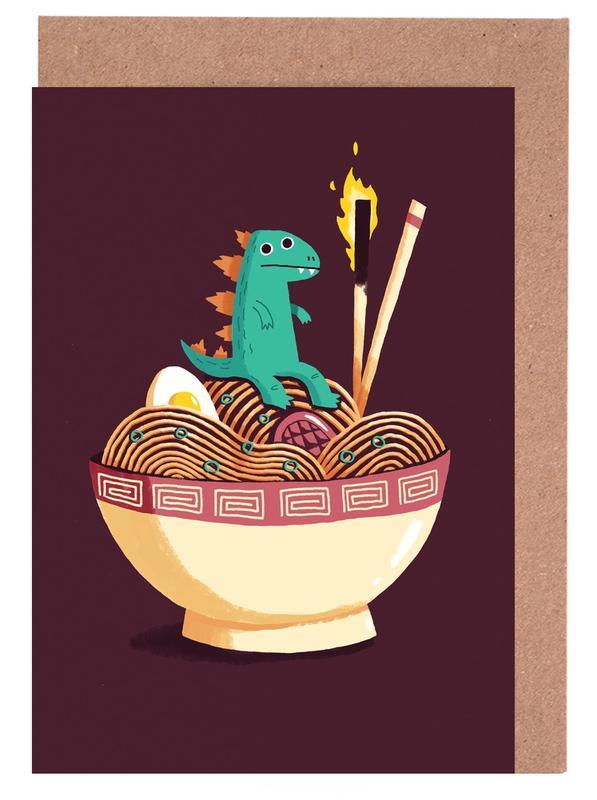 Dinosaurier, Kinderzimmer & Kunst für Kinder, Guardian of the Noodles -Grußkarten-Set