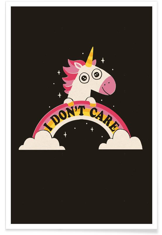 Humor, Enhjørninger, Unicorn Don't Care Plakat