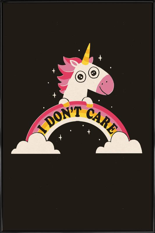 Unicorn Don't Care -Bild mit Kunststoffrahmen