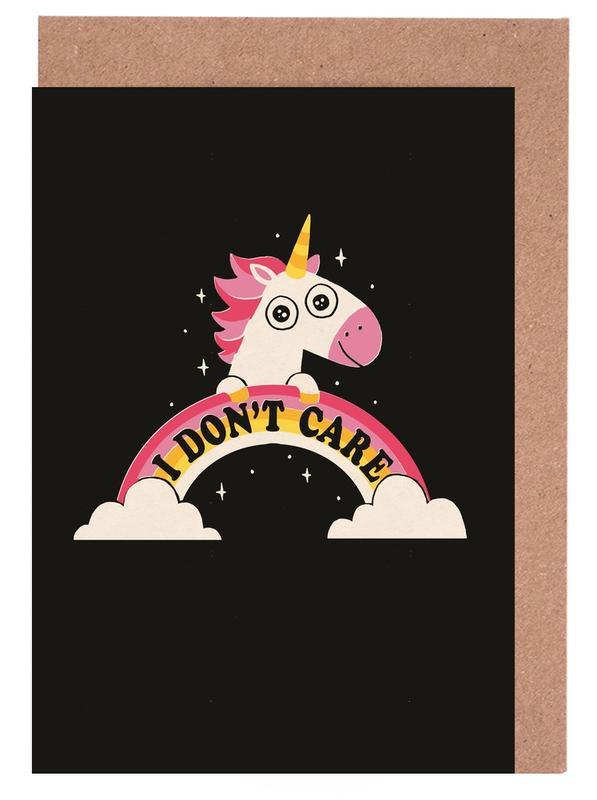 Einhörner, Lustig, Unicorn Don't Care -Grußkarten-Set