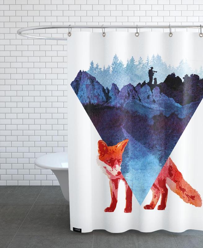 Füchse, Berge, Risky Road -Duschvorhang
