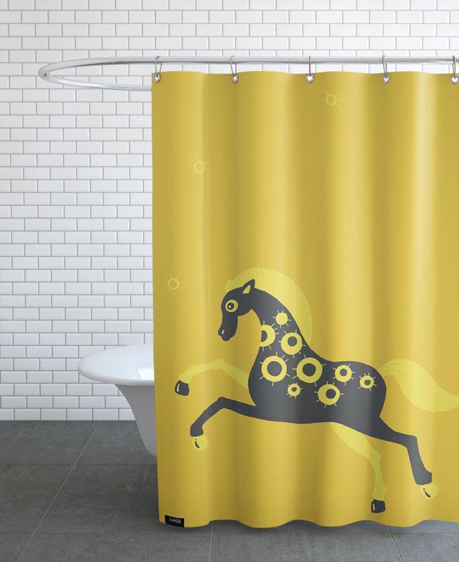 Pferde, Kinderzimmer & Kunst für Kinder, Polle yellow -Duschvorhang