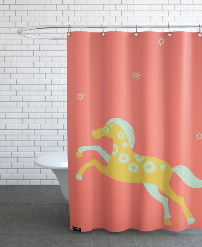 Pferde, Kinderzimmer & Kunst für Kinder, Polle red -Duschvorhang