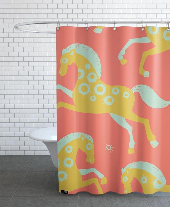 Chevaux, Art pour enfants, Polle red rideau de douche
