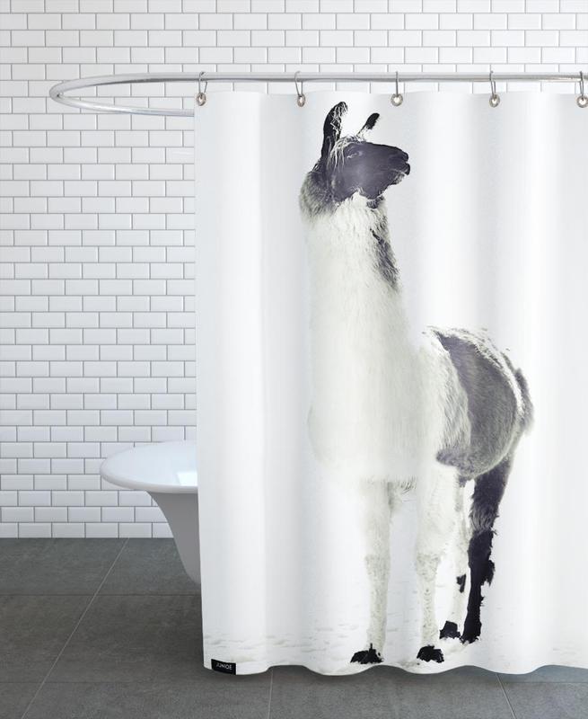 Lamas, Noir & blanc, Fluffy Lama rideau de douche