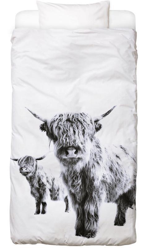 Hochlandrinder, Schwarz & Weiß, Highland Cows Bettwäsche