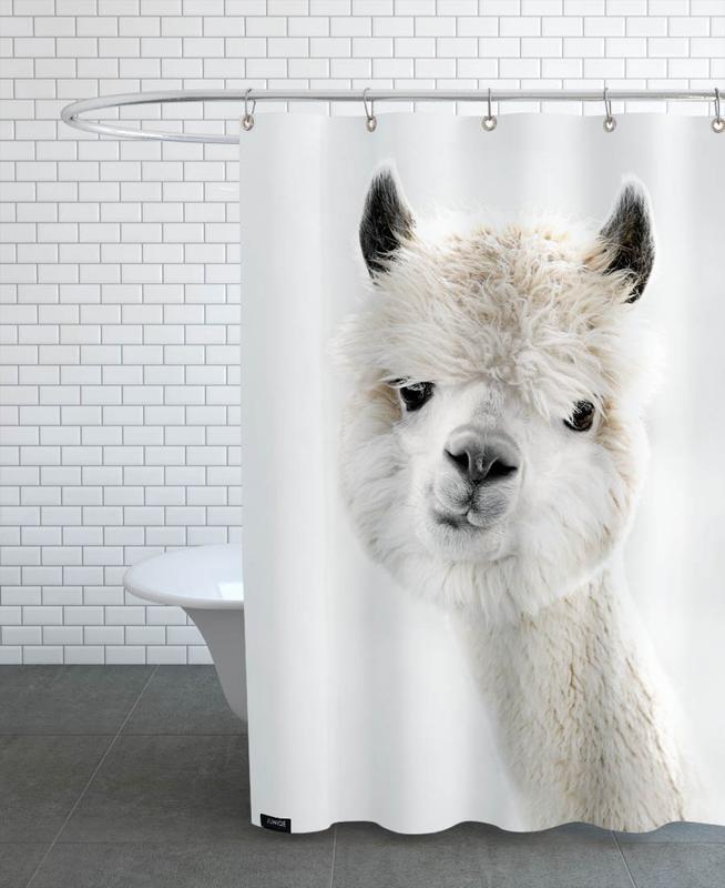 Funny, Peeky Alpaca Shower Curtain