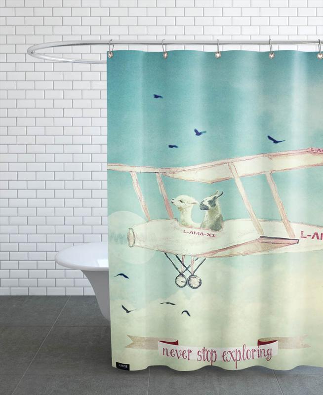 Lamas, Art pour enfants, Voyages, Avions, Never Stop Exploring III rideau de douche