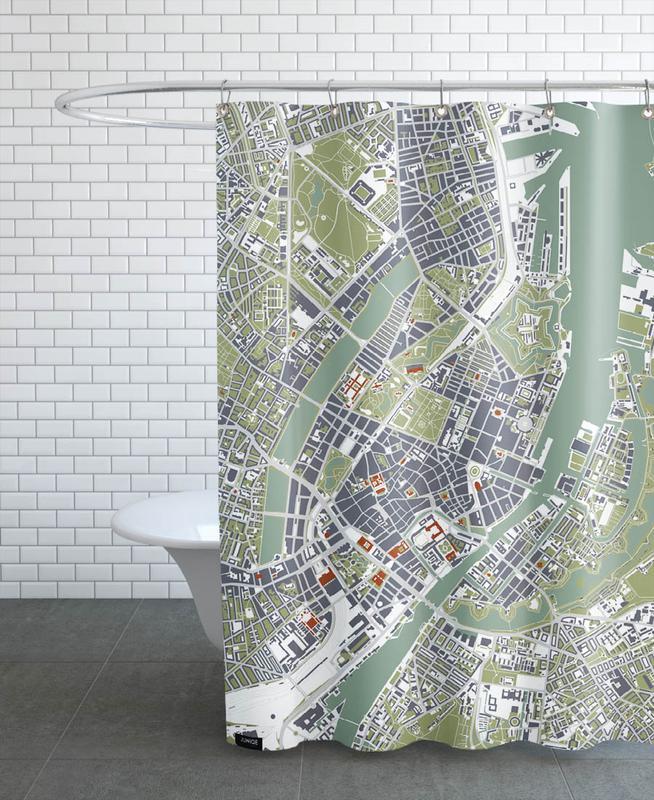 City Maps, Copenhagen, Copenhagen - Engraving Shower Curtain