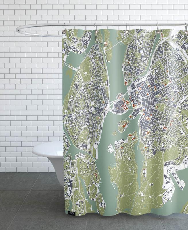 Stockholm, Stockholm- Engraving -Duschvorhang