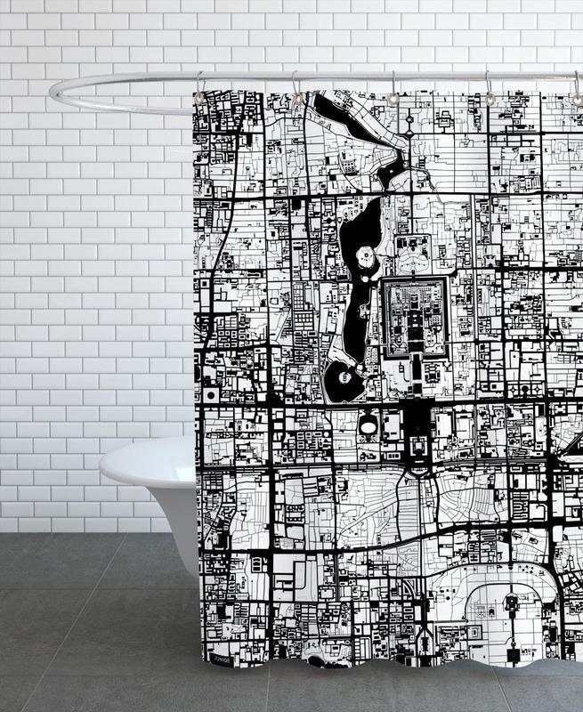 Schwarz & Weiß, Beijing Black & White -Duschvorhang
