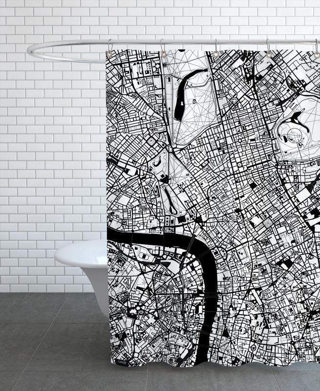 London, Schwarz & Weiß, London Black & White -Duschvorhang
