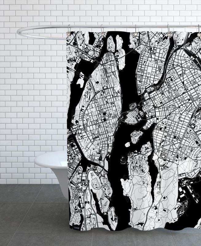 Noir & blanc, Stockholm, Stockholm Black & White rideau de douche