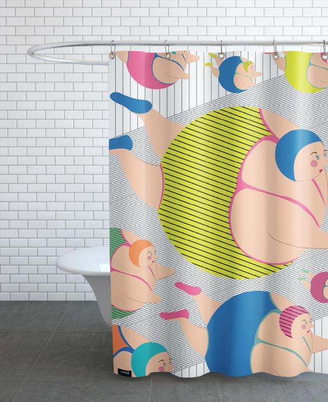 Swimming, Synchronised Striped Swimmers Shower Curtain