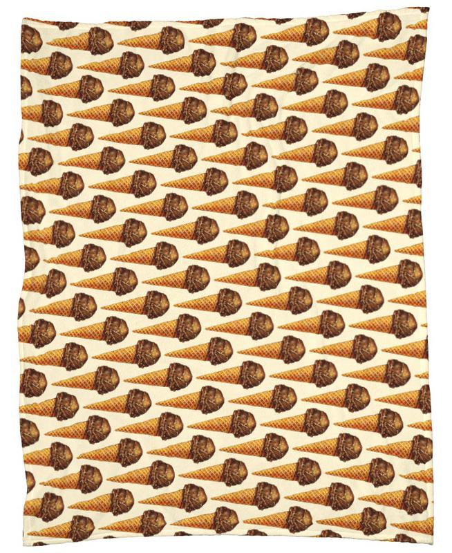 Chocolate Scoop Pattern Fleece Blanket