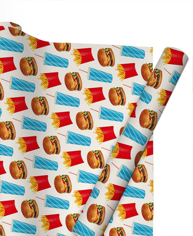Combo Meal Pattern White Gift Wrap