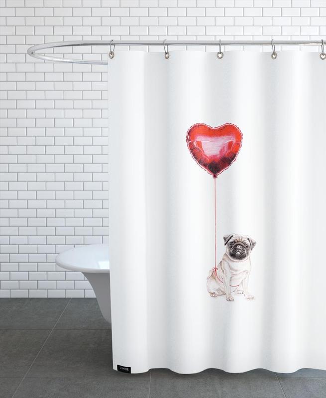 Saint-Valentin, Chiens, Cœurs, Pug & Balloon rideau de douche