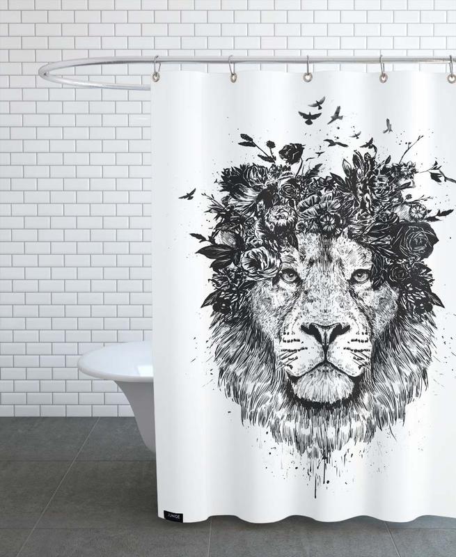 Schwarz & Weiß, Löwen, Floral Lion -Duschvorhang