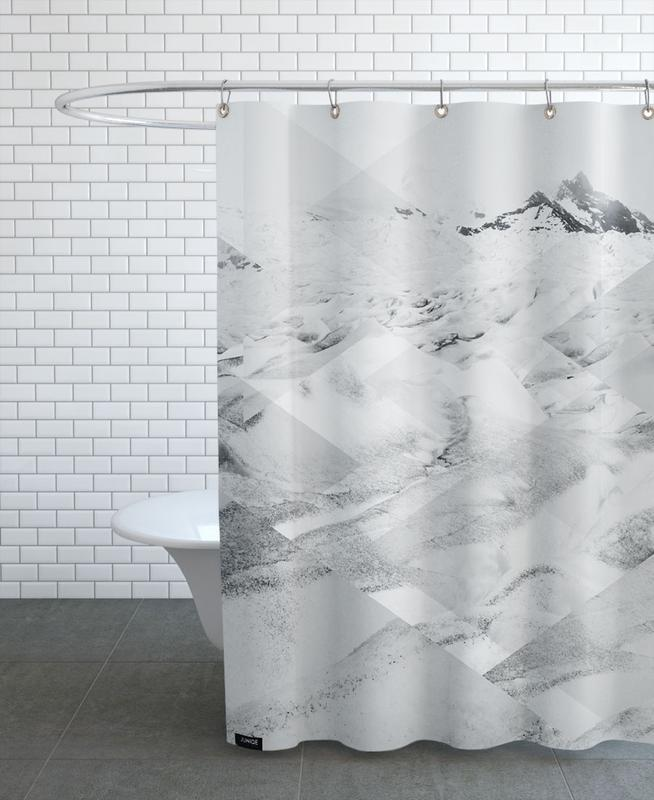 Mountains, Abstract Landscapes, Black & White, Scattered 3 Perito Moreno Shower Curtain