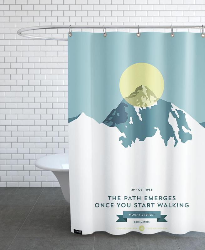 Mountains, Mount Everest Yellow Shower Curtain