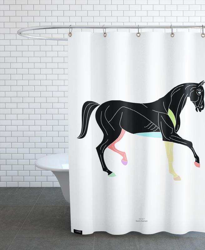 Schwarz & Weiß, Pferde, Prn 01 -Duschvorhang