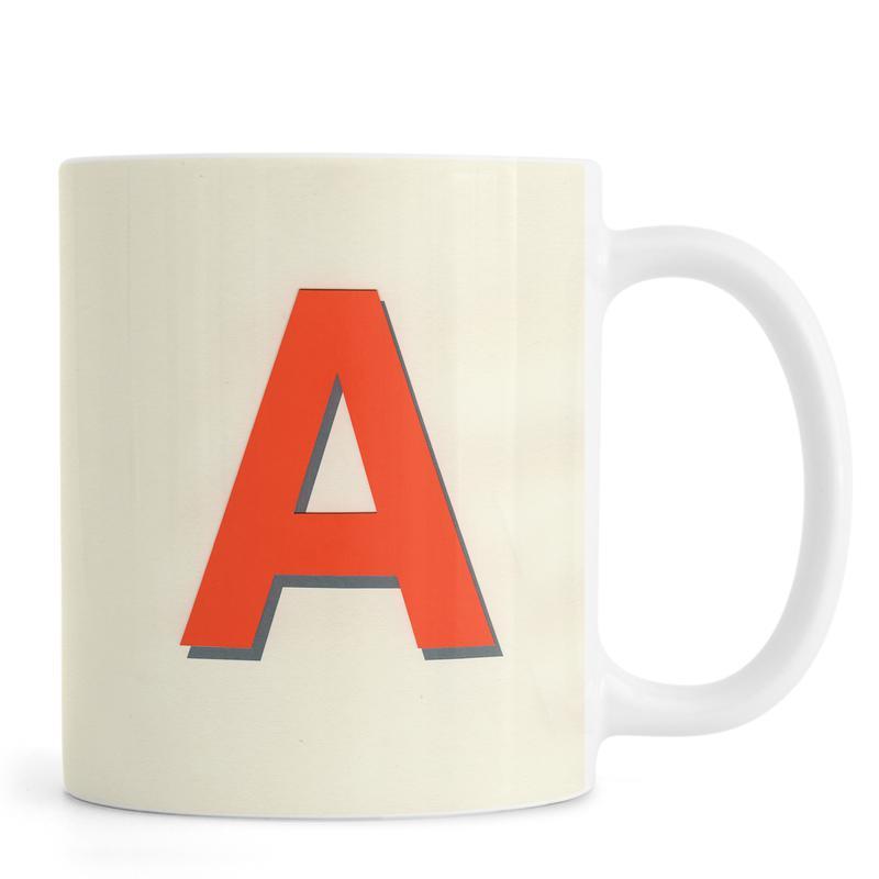 Alphabet & Buchstaben, Neon Red A -Tasse