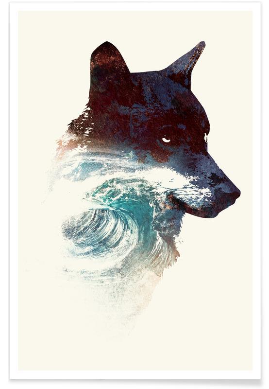 Art pour enfants, Loups, Night Swim affiche