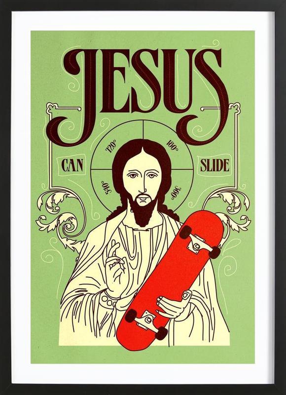 Jesus Can Slide ingelijste print