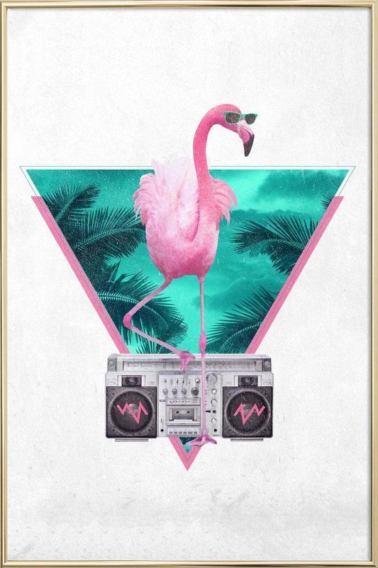 Miami Flamingo -Poster im Alurahmen