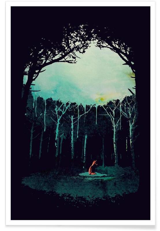 Art pour enfants, Renards, Forêts, Deep in the forest affiche