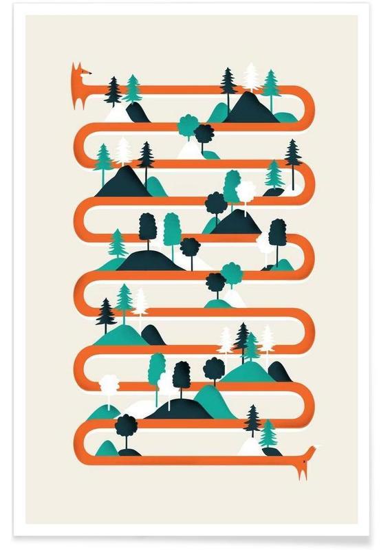 Foxy stripes Poster