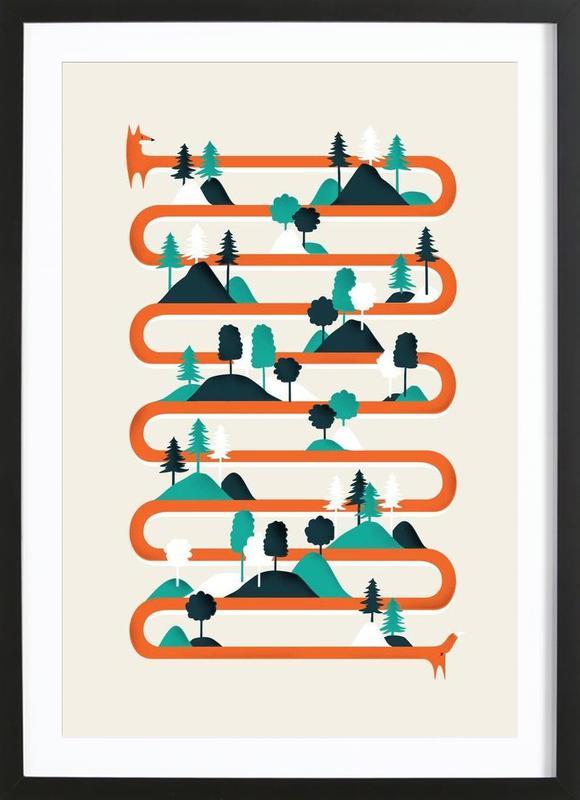 Foxy stripes ingelijste print