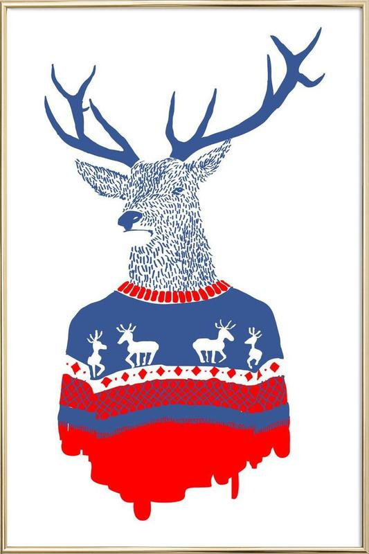 Ugly Winter Pullover Poster in Aluminium Frame