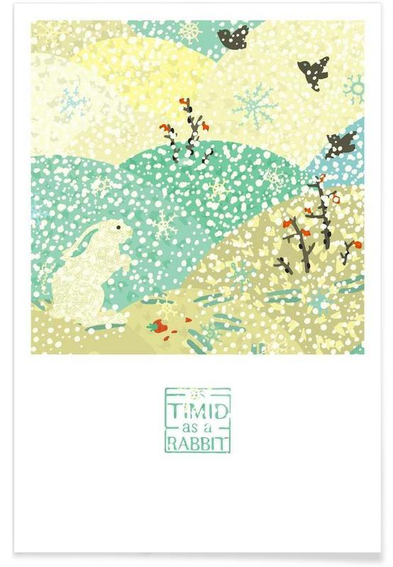 Lapins, Pâques, As timid as a rabbit affiche