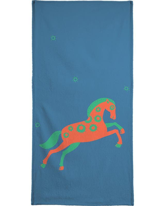 Chevaux, Art pour enfants, Polle blue serviette de bain