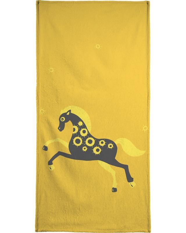 Chevaux, Art pour enfants, Polle yellow serviette de bain