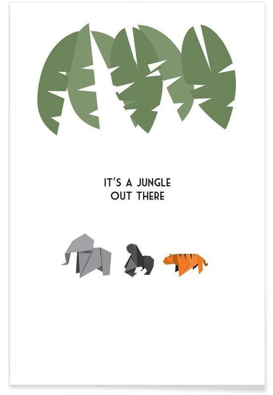 Tigres, Singes, Éléphants, Jungle affiche