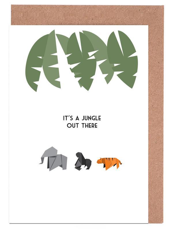 Elefanten, Affen, Tiger, Jungle -Grußkarten-Set