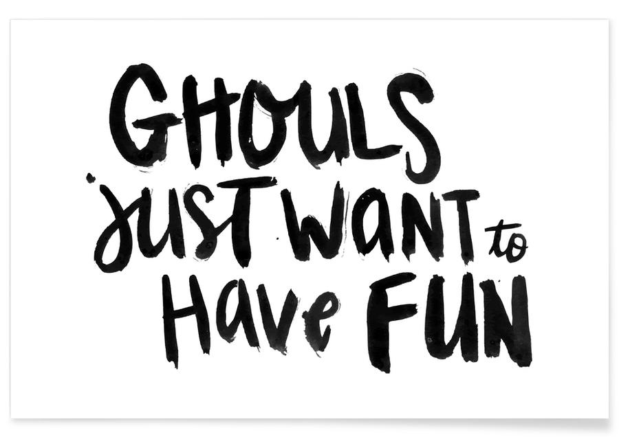 Funny, Black & White, Ghouls Poster