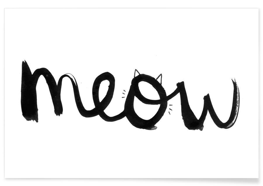 Zwart en wit, Quotes en slogans, Katten, Meow poster