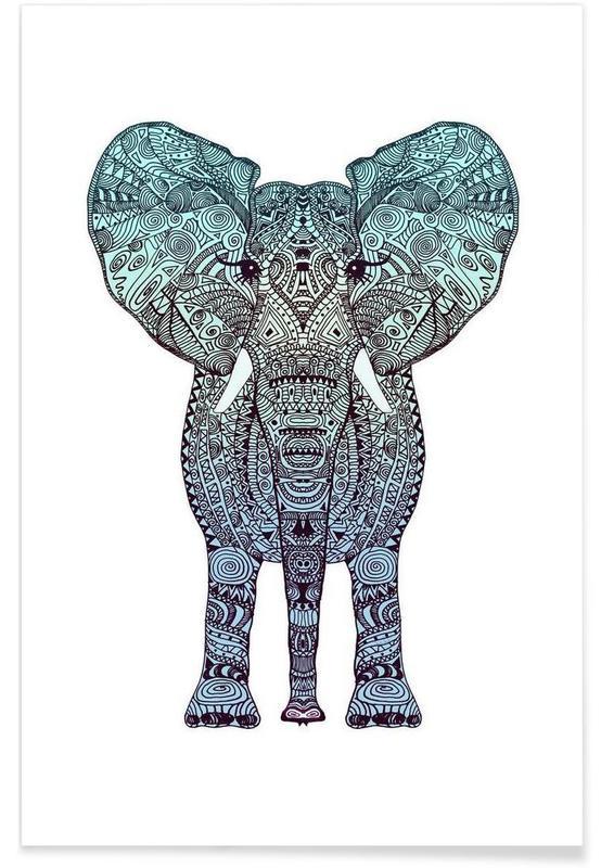 Éléphants, Art pour enfants, Mint Elephant affiche